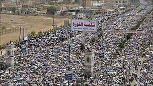 Pro-democracy protest in Sanaa. 27 May 2011