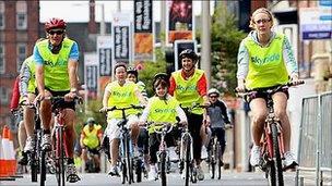 Sky Ride cyclists