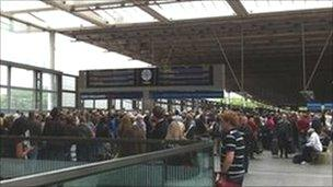 Packed platform at St Pancras - photo courtesy Lucy Bannister