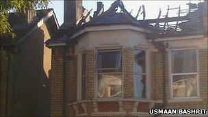The house involved in the fire at Marsden Road in East Dulwich (pic: Usmaan Bashrit)