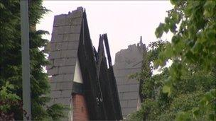 Roof damage on one of the properties