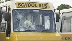School bus with smashed window