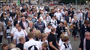 Swansea City fans outside Wembley