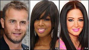 Gary Barlow, Kelly Rowland and Tulisa Contostavlos