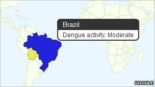 Screenshot of dengue fever map