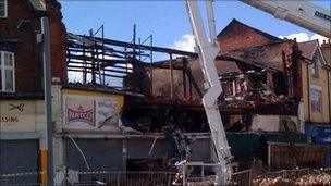 The fire-damaged supermarket in Smethwick