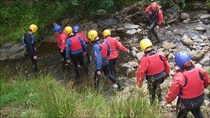 Young people gorge walking