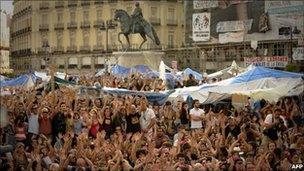 Protesters in Puerta del Sol square in central Madrid