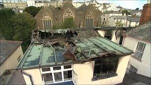 Fire damage at Tantons Hotel