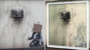 """Before and after damaged """"Banksy"""" graffiti on wall of Grosvenor Hotel, Torquay"""