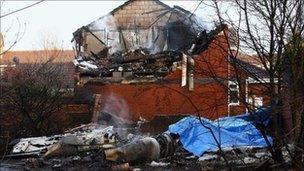 Wreckage of Cessna aircraft at Farnborough, Kent