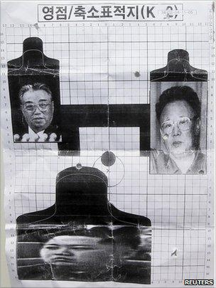 A firing target depicting North Korea's founder Kim Il-sung (top L), current leader Kim Jong-il (R) and the latter's third son Kim Jong-un