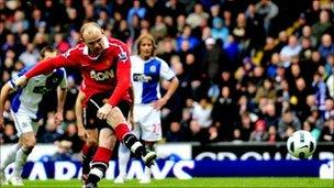 Wayne Rooney scoring the penalty against Blackburn Rovers which clinched Manchester United's 19th title