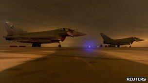 RAF Typhoon aircraft at Gioia del Colle Air Base, Italy