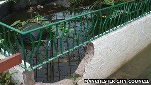 Damaged pond at Wythenshawe park