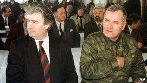 Radovan Karadzic and Ratko Mladic in the Bosnian Serb capital Pale, undated photo
