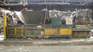 Baling machine at Transwaste Recycling site in Hessle Dock