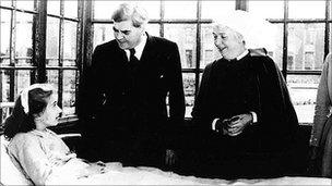 Nye Bevan talking to a patient at Trafford General Hospital on the day that the NHS was founded in 1948