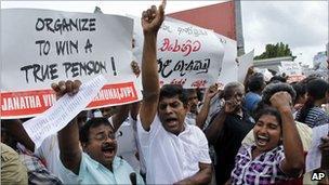 Demonstrators on Thursday in Sri Lanka