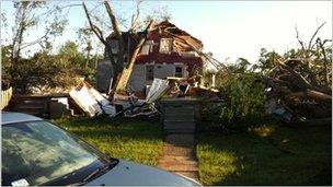 Tornado damage on Pennsylvania Avenue in Springfield, Massachusetts. A photo taken by reader Grant Newman