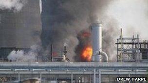 Chemical plant blaze