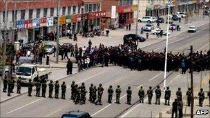 Handout photo taken on 23 May 2011 by Southern Mongolian Human Rights shows Chinese riot police blocking a street in Xilinhot