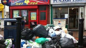 Rubbish piling up on the city's streets