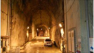 A giant access tunnel inside the Dinorwig power plant