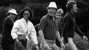 Bruce Forsyth with wife Wilnelia at Wentworth Golf Club, Surrey.