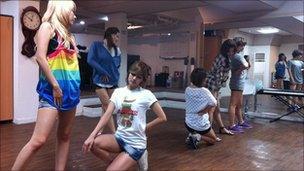South Korean girl band Rainbow rehearse at a studio in Seoul