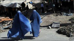 Afghan women in Kabul's old quarter on 8 June 2011