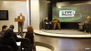 Libyan interior ministry spokesman appears at news conference (February 2011)