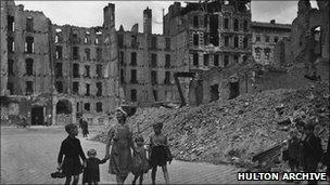 Bombed-out buildings in Berlin in October 1945
