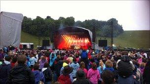 Concert-goers at the JLS and Olly Murs open-air event at the Matterley Bowl