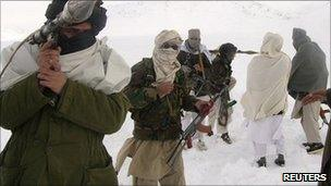 Taliban fighters at an undisclosed location in Afghanistan (Jan 2009)