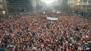 massive crowds demonstrate during the Velvet Revolution