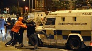 Nationalist rioters attacked police landrovers on Wednesday night