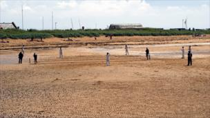 People playing cricket on Elie beach