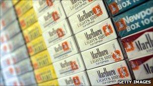 Cigarettes on display