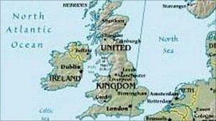 map of Britain and Ireland