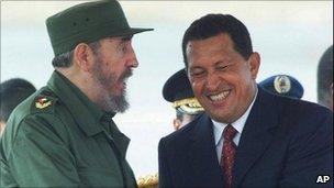 Fidel Castro (left) and Hugo Chavez