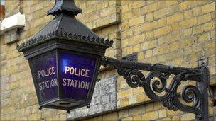 Lamp outside police station
