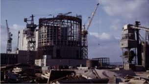 Oldbury Power Station - view of the reactor building being constructed