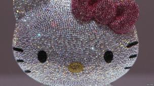 A crystal studded Hello Kitty on show in Tokyo, Japan