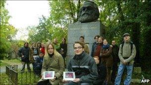Karl Marx statue in Highgate Cemetery