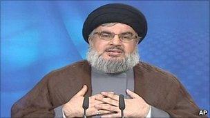 Hezbollah leader Hassan Nasrallah delivers his speech. Photo: 2 July 2011