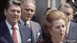 Ronald Reagan with Margaret Thatcher
