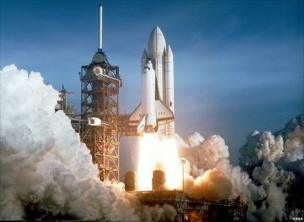 Space Shuttle Columbia on its first mission in 1981