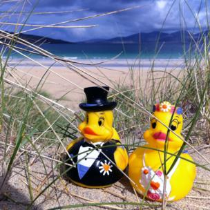 Bride and groom rubber ducks on Luskentyre Beach