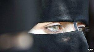 A veiled Hamas supporter in Gaza